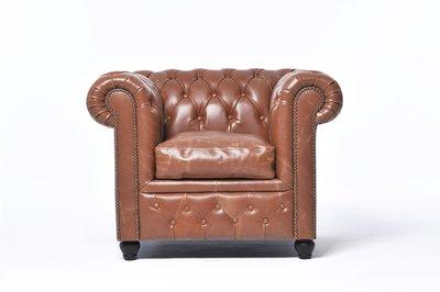 Chesterfield Fauteuil Vintage Leer | Mokka | 12 jaar garantie
