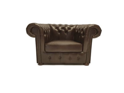 Chesterfield Fauteuil Class Leer | Cloudy Brown Dark | 12 jaar garantie