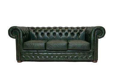 Chesterfield Bank  First Class Leer | 3-zits | Cloudy Green| 12 jaar garantie
