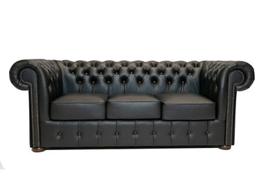 Chesterfield Bank Class Leer | 3-zits | Shiny Black | 12 jaar garantie