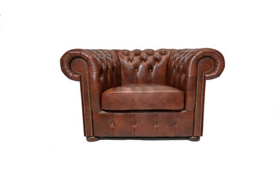 Chesterfield Fauteuil Class Leer | Cloudy Brown Old | 12 jaar garantie
