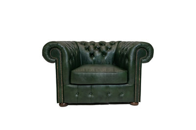 Chesterfield Fauteuil Class Leer | Cloudy Green | 12 jaar garantie