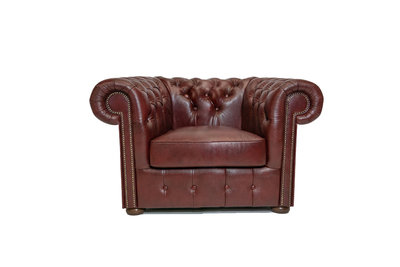 Chesterfield Fauteuil Class Leer | Cloudy Red | 12 jaar garantie