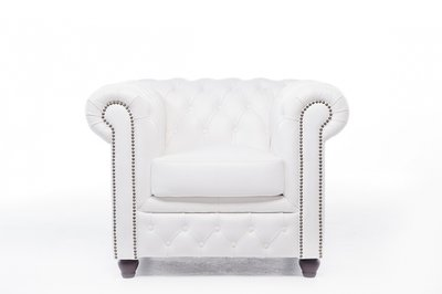 Witte Fauteuil Leer.Chesterfield Fauteuil Original Leer Wit House Of Chesterfield