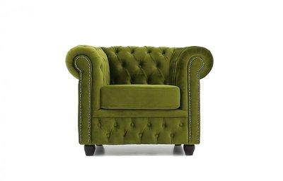 Chesterfield Fauteuil Original Fluweel   Groen   12 jaar garantie